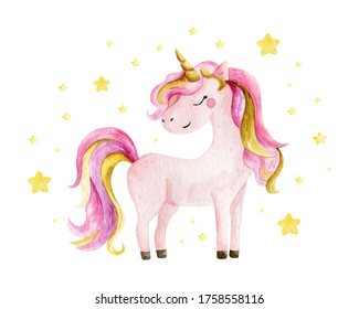 Isolated cute watercolor unicorn and stars clipart. Nursery unicorns illustration. Princess unicorns poster. Trendy pink cartoon horse.