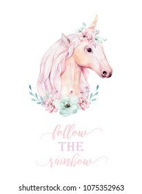 Isolated cute watercolor unicorns clipart with flowers. Nursery unicornsillustration. Princess rainbow poster. Trendy pink cartoon pony horse.