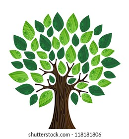 Isolated Eco friendly tree with green wooden leaves illustration.