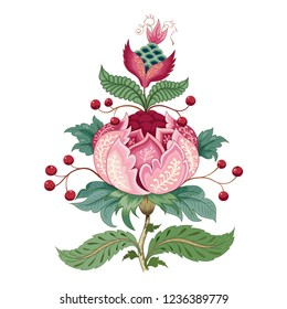 Isolated element for ornament. Fantastic flower with leaves, tendrils and berries. Motives of vintage Indian fabrics. Tree of Life collection