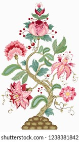 Isolated element for ornament. Tree of Life. The motives of the paintings of ancient Indian fabrics