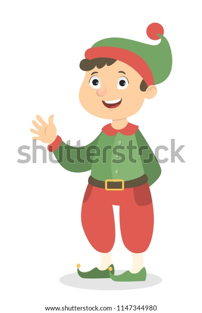 Isolated elf boy in costume and hat.