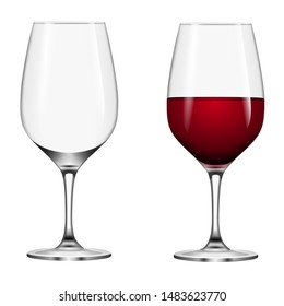 isolated empty and full wine glasses