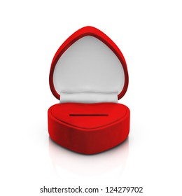 Isolated empty red ring box on white background