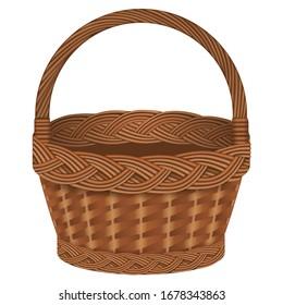 isolated empty wicker basket illustration