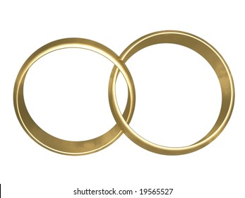 Isolated engagement gold  rings on white background