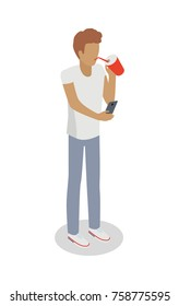 Isolated faceless boy drinks something from red covered glass through sipper and searches information in smartphone.  illustration of young male person in white t-shirt and grey trousers