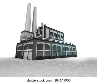 isolated factory as industrial production engine illustration