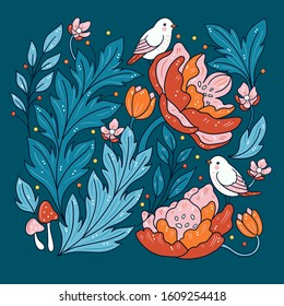 Isolated flowers and birds - turquoise teal and orange Japanese red pink
