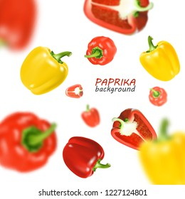 Isolated flying vegetables. Falling sweet red and yellow paprika isolated on white background. Realistic , 3d illustration