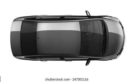 Isolated generic black car - top view