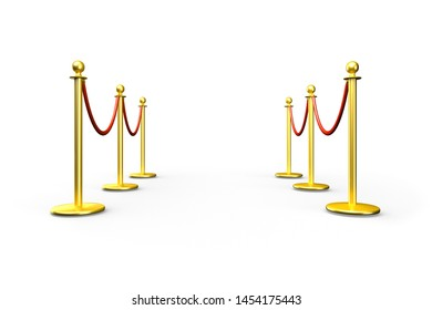 Isolated golden fence, stanchion with red barrier rope. Luxury, VIP concept. Equipment for events. Perspective lines. 3d illustration
