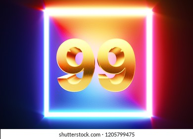isolated Golden number 99 frame in neon yellow, fuchsia, cyan and blue colors on a black background.3d render