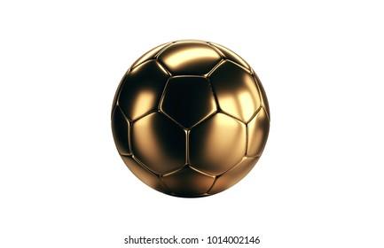 Isolated golden soccer football ball. 3d rendering