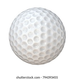 Isolated Golf Ball. Classic white Golf Ball. Isolated on white background. 3d Render.
