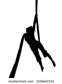 Isolated graphic silhouette woman making fabric acrobatic