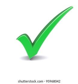 Isolated green check mark. 3d image