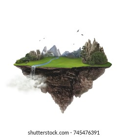 Isolated green island with mountain and waterfall flying high in the sky