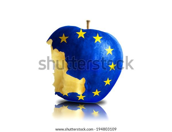 isolated half eaten europa apple