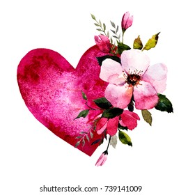 Isolated heart with watercolor pink flowers, leaves.