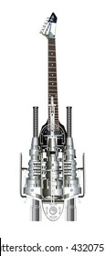 A isolated heavy metal guitar, 3D illustration