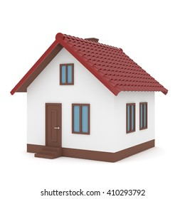 Isolated home with red roof on white. 3D rendering.