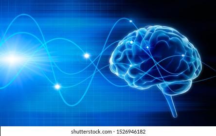 Isolated human brain - concept brain activity - 3D illustration