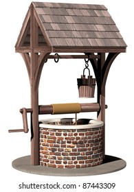 Isolated illustration of an ancient and magical wishing well