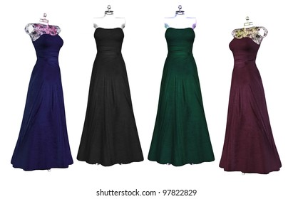 Isolated illustration of evening gowns