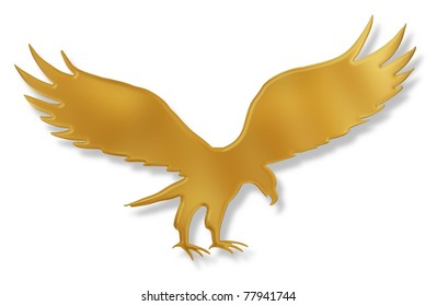 Isolated illustration of a golden Eagle with drop shadow