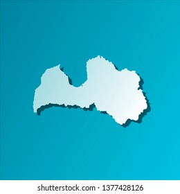 Isolated illustration icon with light blue silhouette of simplified map of Latvia. Bright blue background with shadow