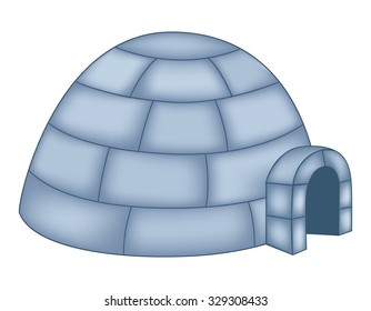 Isolated illustration of an igloo on white background