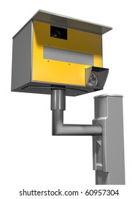 Isolated illustration of a road safety speed camera