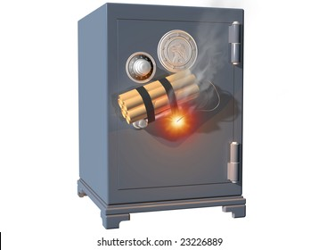 Isolated illustration of a safe being broken into using dynamite