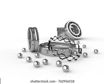 isolated image of a chrome ball bearing close-up, in analysis, the parts are on a white surface reflecting the surroundings. In the background three of the bearing. 3D rendering