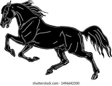 isolated image, drawing, black silhouette, galloping horse on white background.