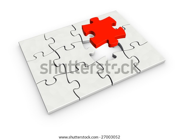 An isolated incomplete puzzle with last red piece on white background