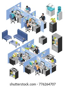 Isolated isometric cubicle office workplaces set with desktop tables shelves and workers images on blank background  illustration