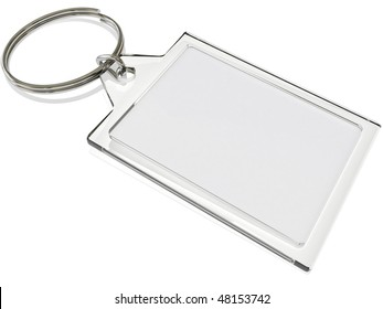 an isolated keyring on white with blank insert