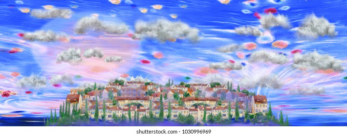 Isolated little spanish town and surreal sky