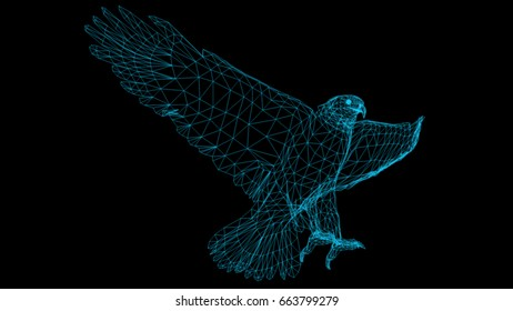 Isolated Low Poly graphic design of   Eagle -3d rendering