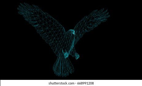 Isolated Low Poly graphic design of   Eagle -3d illustration