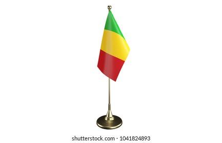 Isolated Mali desktop flag. 3d render