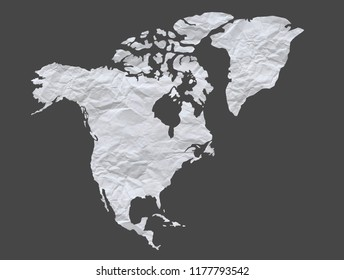isolated map  North America With white paper has wrinkles. on gray background