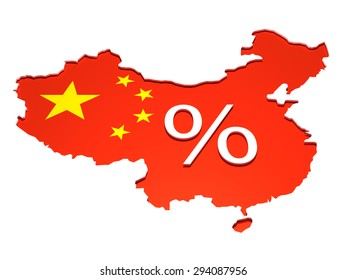 Isolated map of the People Republic of China with the flag on it. A percentage sign is placed in the middle as a 3D Illustration.