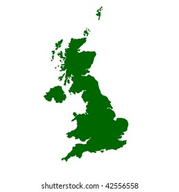 Isolated map of United Kingdom of England, Scotland, Wales and Northern Ireland.