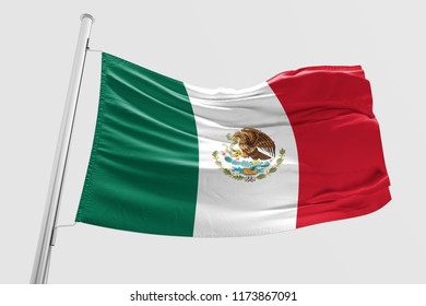 Isolated Mexican Flag waving 3d Realistic Mexican Flag Rendered