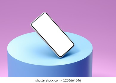 Isolated mobile phone on multicolored pink and light blue background, Social media concept. 3d rendering.