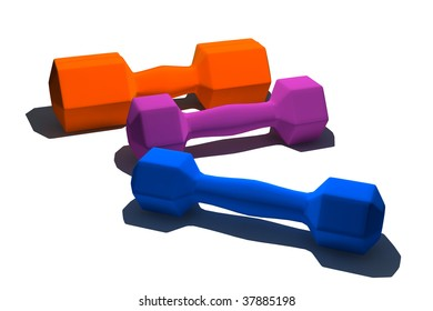 isolated multicolor dumbbells on white background - 3d render