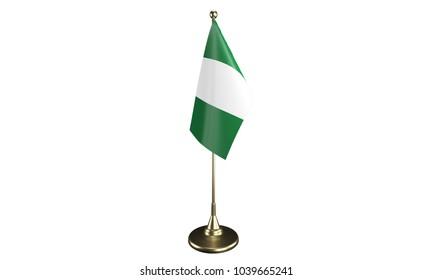 Isolated Nigeria desktop flag. 3d render
